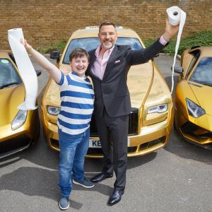 Car Park Party Billionaire Boy Actor Matthew Gordon author David Walliams Photo by Mark Douet 50 A2226